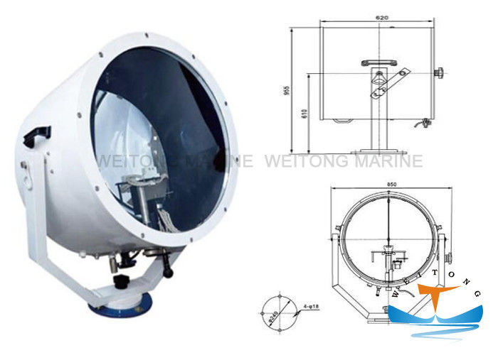 IP56 Suez Canal Searchlight , Light Weight Halogen Searchlight 2000w TZ5